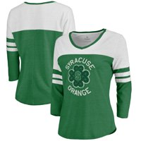 Syracuse Orange Fanatics Branded Women's St. Patrick's Day Luck Tradition Color Block Raglan Tri-Blend 3/4-Sleeve V-Neck