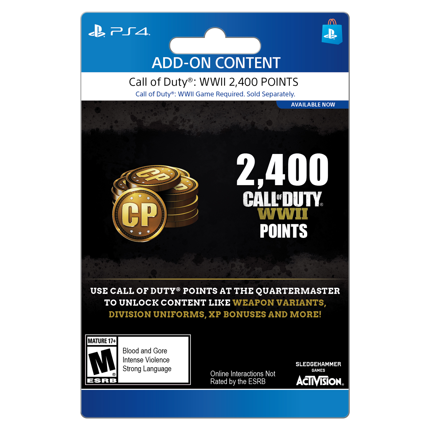 Call of Duty WWII: 2400 CoD Points Pack, Activision, Playstation 4, [Digital Download], 799366623311