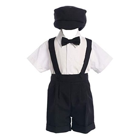 Black Special Occasion Suspenders and Short Set with Hat - Size XL (18M - 24M) - image 1 de 1