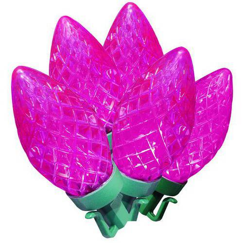 L & H DECORATION LIGHT HUIZHOU CO., LTD Holiday Time LED Super Bright Diamond Cut C9 Christmas Lights, Pink, 100 Count