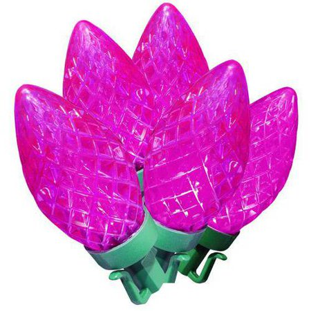 holiday time led super bright diamond cut c9 christmas lights pink 100 count - Pink Led Christmas Lights