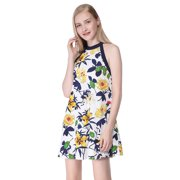 Ever-Pretty Womens Flowy Short Floral Print Halter Neck Sun Beach Holiday Party Summer Shift Casual Dresses for Women on Clearance Sale 05643 US 4