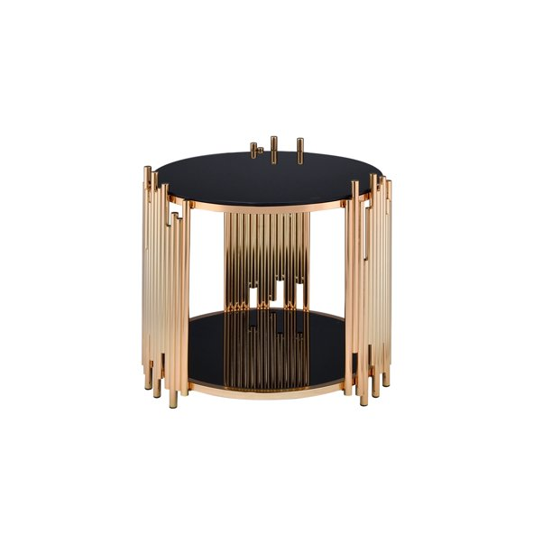 Acme Furniture Tanquin End Table, Black Glass & Gold