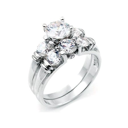 2 ct Brilliant cut Past Present Future Bridal Wedding ring designer 2 Piece Set 925 Silver ()