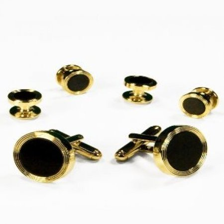 Black Onyx Concentric Circle Top Edge Tuxedo Studs and Cufflinks Gold Trim Tuxedo Shirt Studs