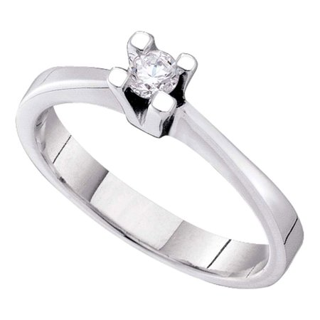 14kt White Gold Womens Round Diamond Solitaire Bridal Wedding Engagement Ring 1/10 Cttw