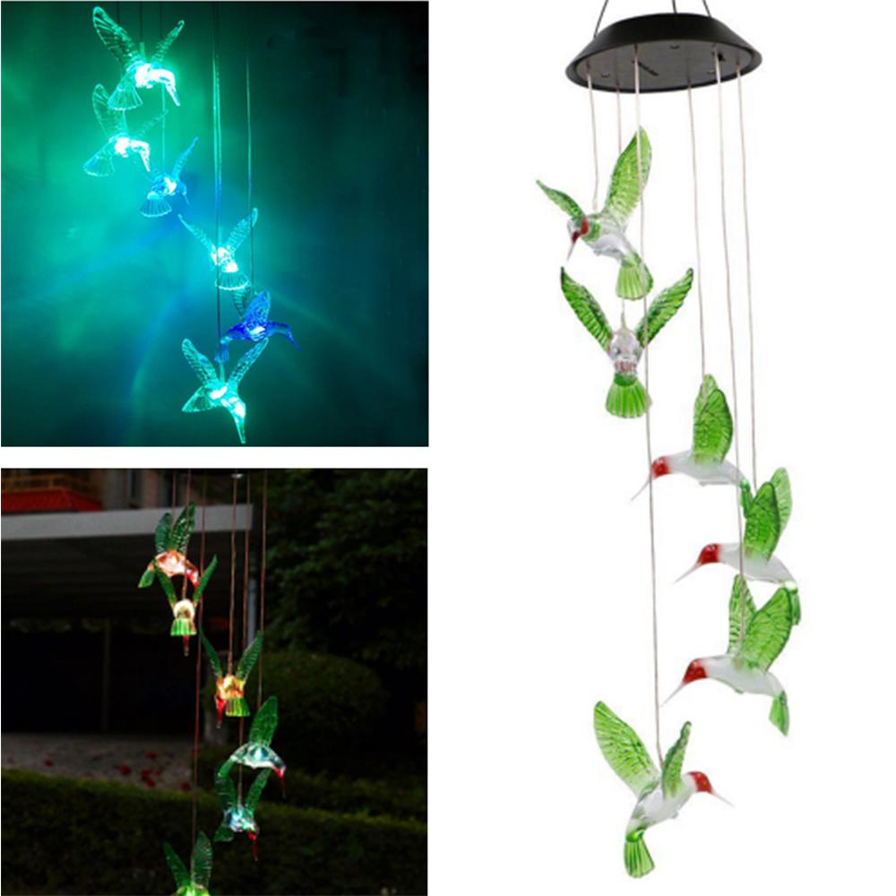 iMeshbean Hummingbird LED Color-Changing Power Solar Wind Chimes Yard Home Garden Decor US