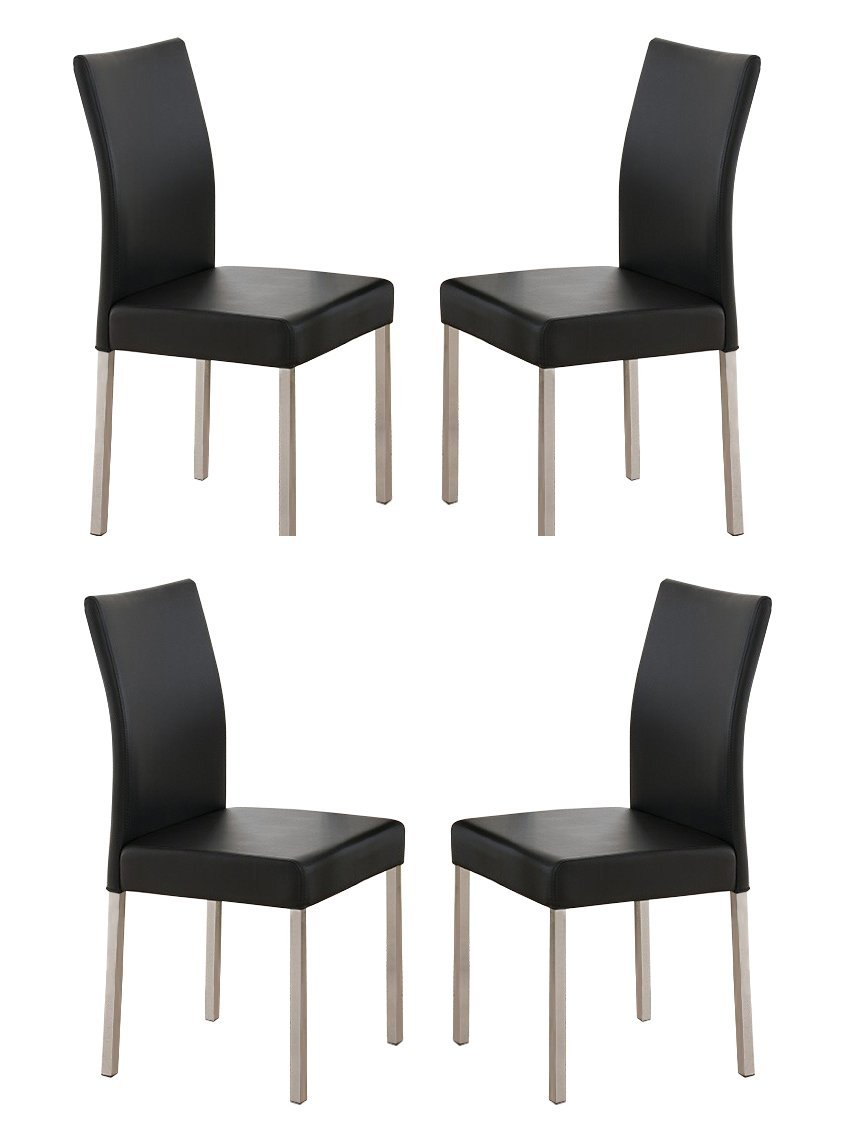 Leina White Vinyl Contemporary Kitchen Dinette Dining Parsons Side Chairs With Chrome Metal Legs Set Of Four Com