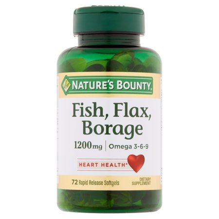 Nature's Bounty Fish, Flax, & Borage Omega-3-6-9 Softgels, 1200 Mg, 72 Ct (Flax Essence)
