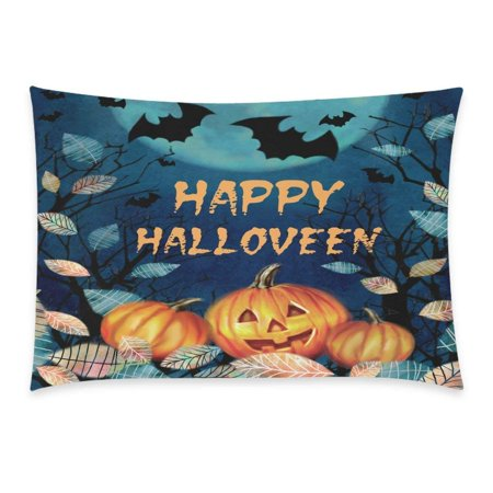 GCKG Halloween Spooky Night Autumn Valley Pillowcase 20x30 inches,Dark Forest with Pumpkin Fallen Leaves on a Moon Pillow Case Cover - image 3 of 3