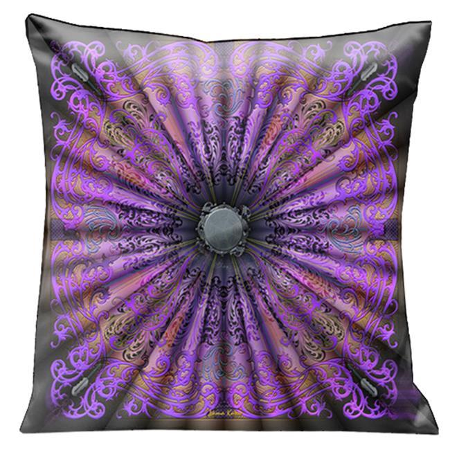 Lama Kasso 200-5 Beautiful Elegant Purple, Pink and Black Parisian Antique Design 18 in. Square Satin Pillow
