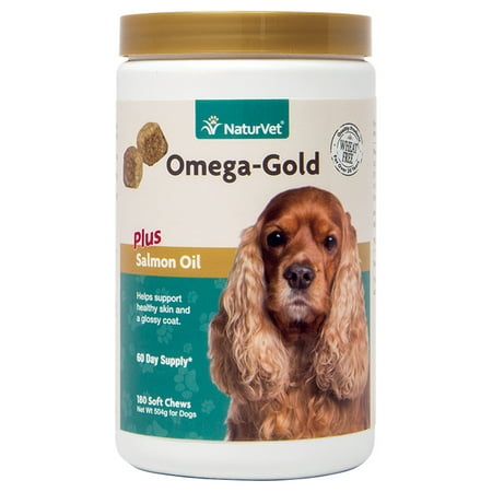 NaturVet Omega-Gold Plus Salmon Oil Skin and Coat Supplement for Dogs and Cats, 180 Soft Chews