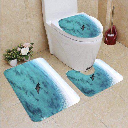 EREHome Red Sea Bottlenose Dolphin 3 Piece Bathroom Rugs Set Bath Rug Contour Mat and Toilet Lid Cover - image 2 of 2