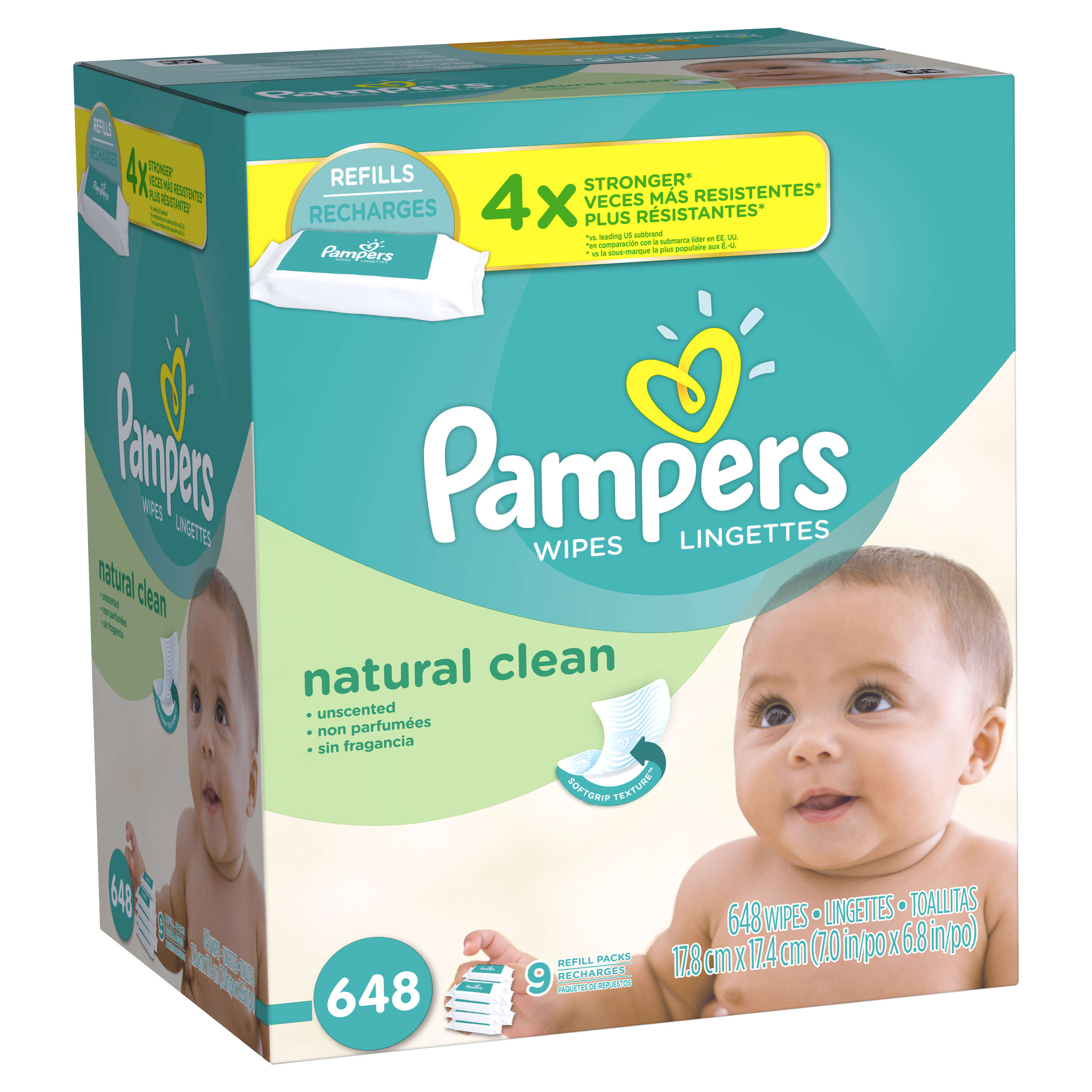 Pampers Natural Clean Baby Wipes, Unscented, 9 refill packs of 72 (648 count)