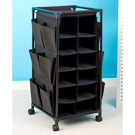 24 Storage Unit (24 Pair Shoe Cubby Stylish Rolling Storage Unit Cart (solid)
