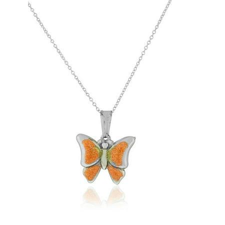925 Sterling Silver 3D Enamel Glitter Butterfly Charm Pendant Necklace, 18