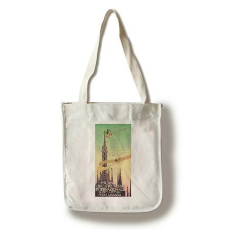 Milano Circuito Aereo Internazionale  Vintage Poster (artist: Mazza) Italy c. 1910 (100% Cotton Tote Bag - Reusable)
