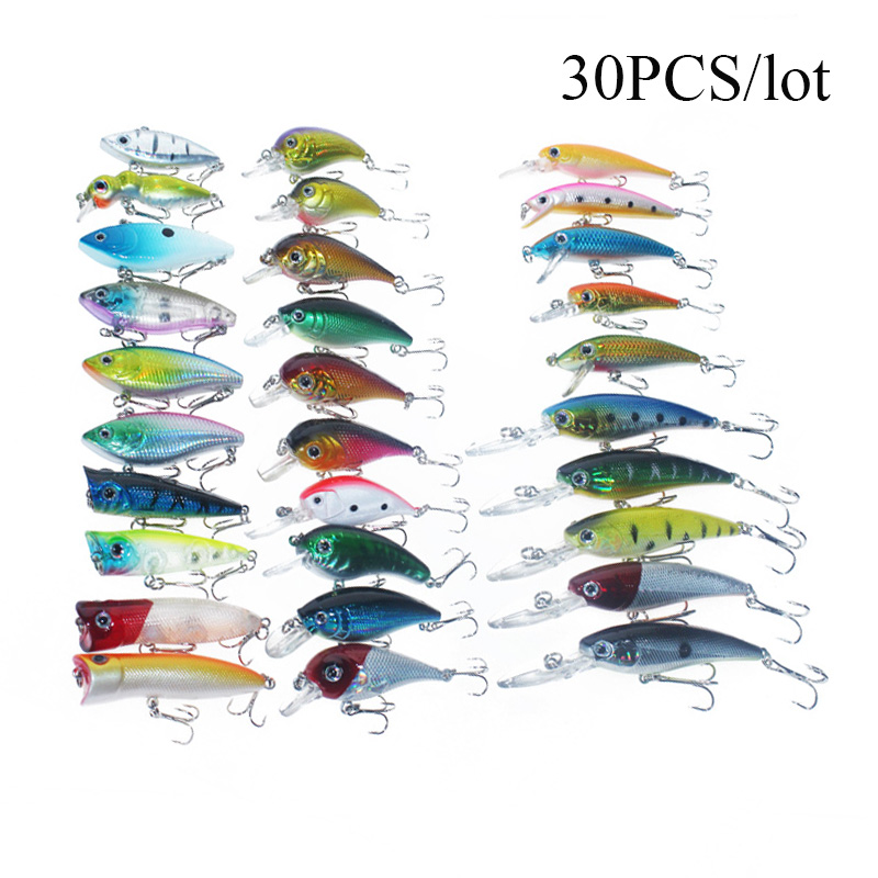 Click here to buy 30PCS Mini PVC Fishing Lures Bass Crank bait Tackle Crank Baits With Hooks.