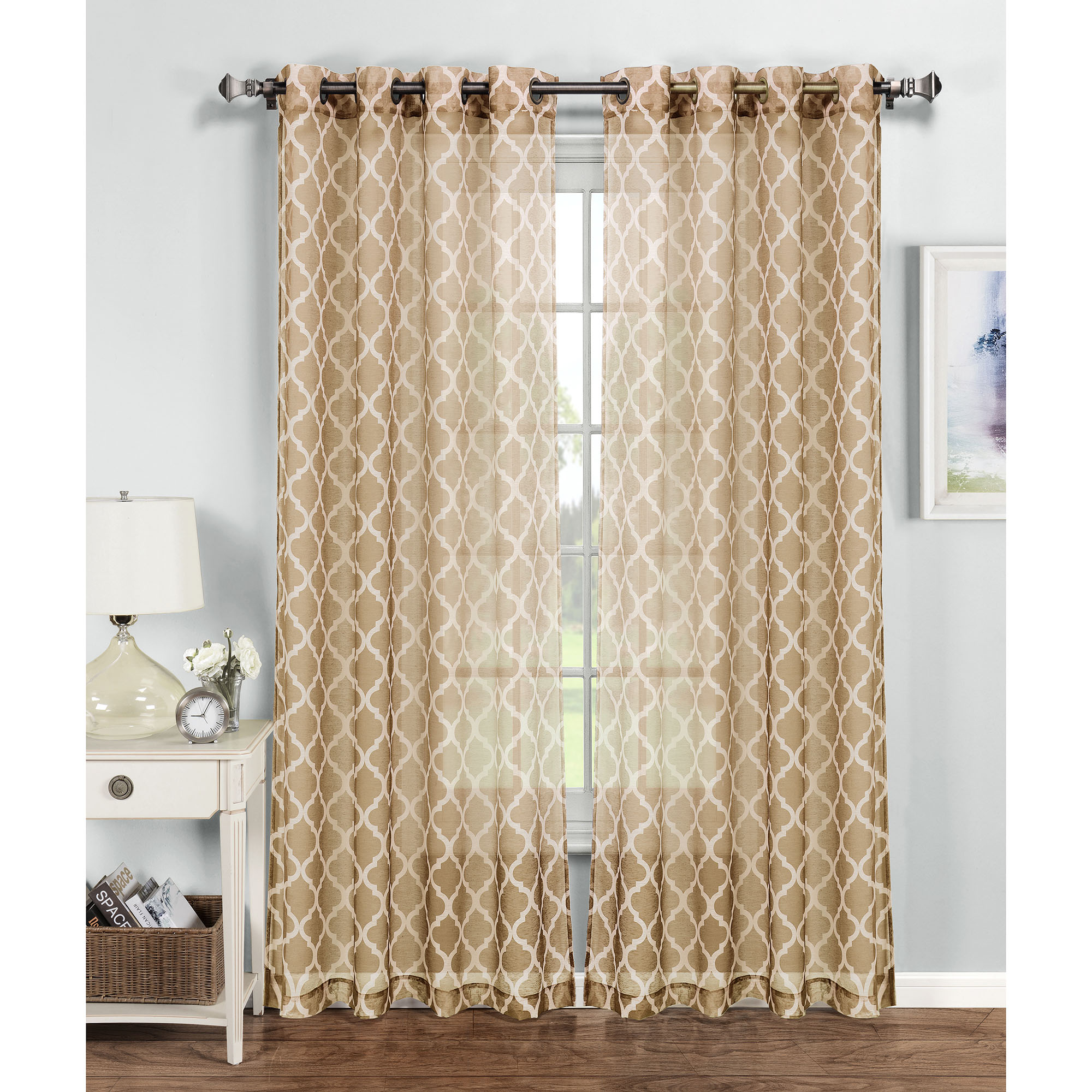 Quatrefoil Printed Sheer Extra Wide Grommet Curtain Panels by YMF Carpets Inc.