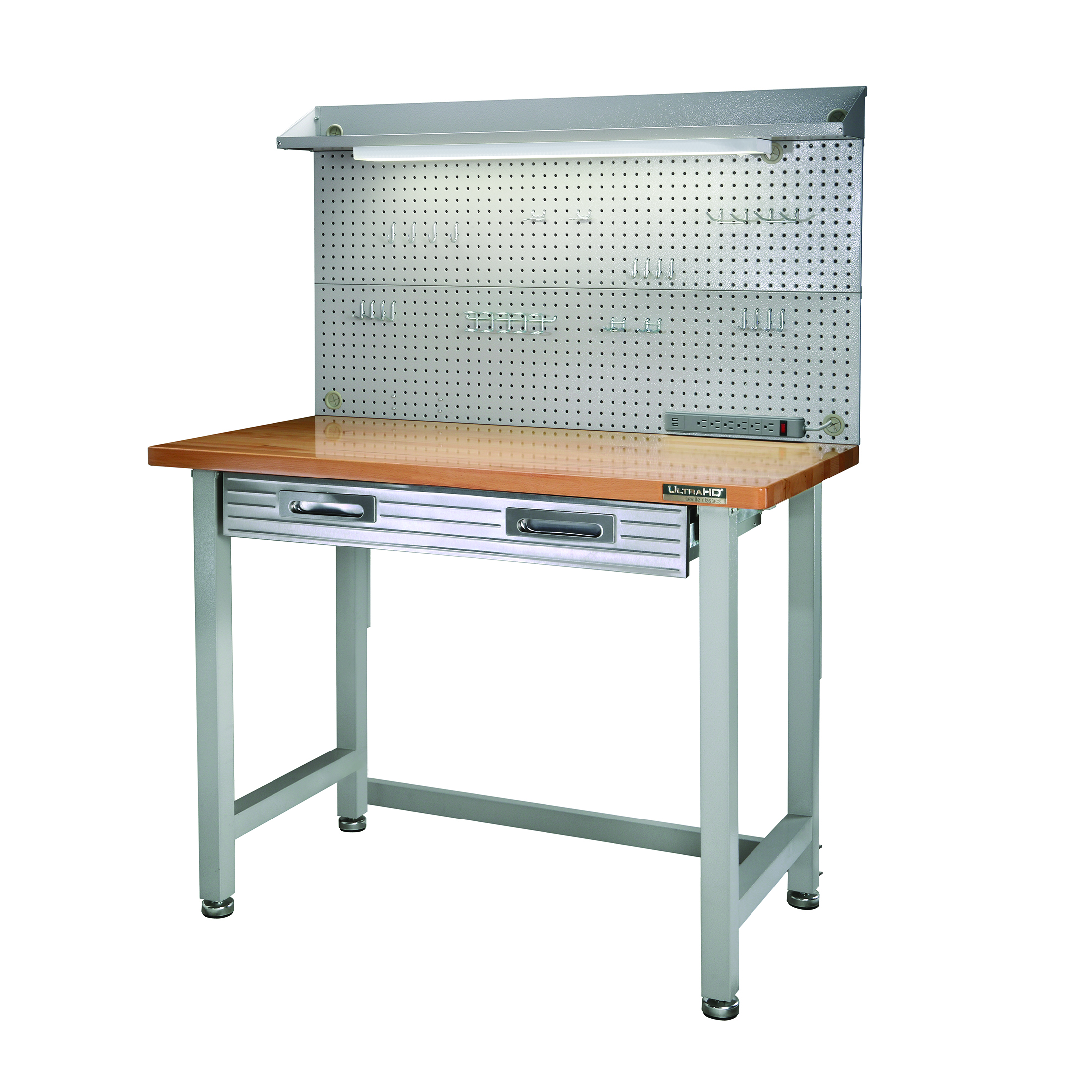 Seville Classics UltraHD Commercial Heavy-Duty Workcenter, with Pegboard
