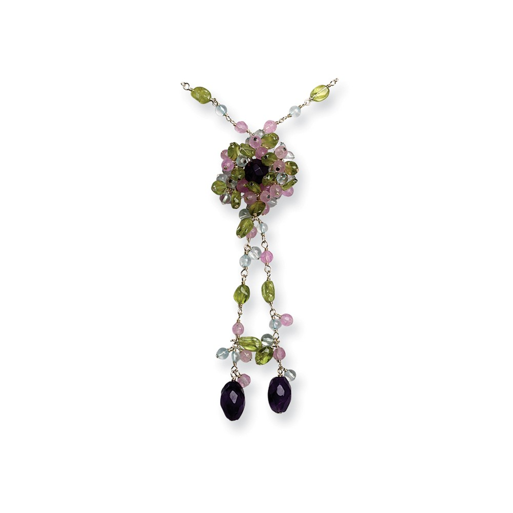 Sterling Silver 16in Amethyst/Lavender Quartz/Peridot/Blue Topaz Necklace