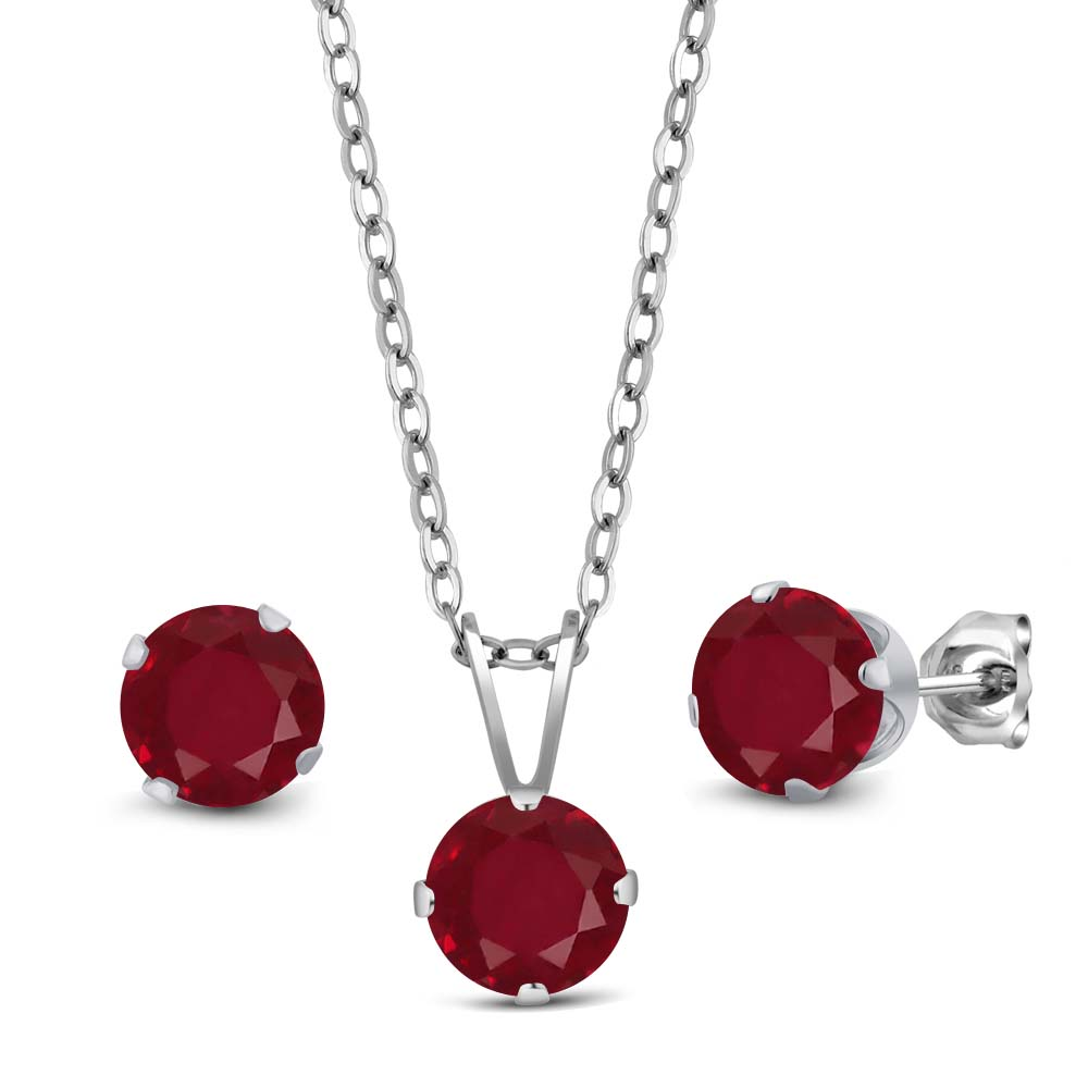 3.00 Ct Round Red Ruby 925 Sterling Silver Pendant Earrings Set With Chain by