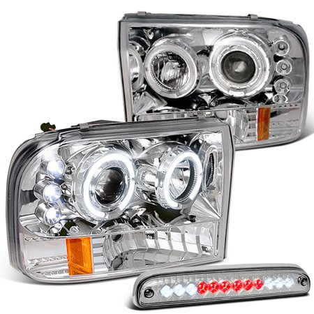 Spec-D Tuning For 1999-2004 Ford F250 F350 F450 F550 Halo Projector Headlights + Led Stop 3Rd Brake Lamp 1999 2000 2001 2002 2003 2004 2002 Chrome Led