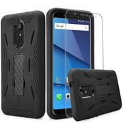 BLU Vivo XL3 Plus case + Screen Protector, (V0210WW) 6 inch case,Heavy Duty Rugged Hard Cover Hybrid Kickstand Case w. Clear Screen Protector Film for BLU Vivo XL3 Plus case (HVD Black/Black)