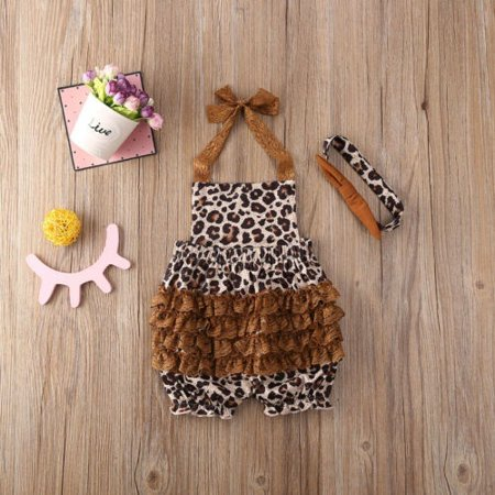 Newborn Baby Girl Leopard Sling Romper Jumpsuit Bodysuit Headband Outfits Clothes 0-24M - image 5 of 5