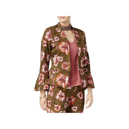 XOXO Womens Floral Print Ruffle Sleeves One-Button Blazer