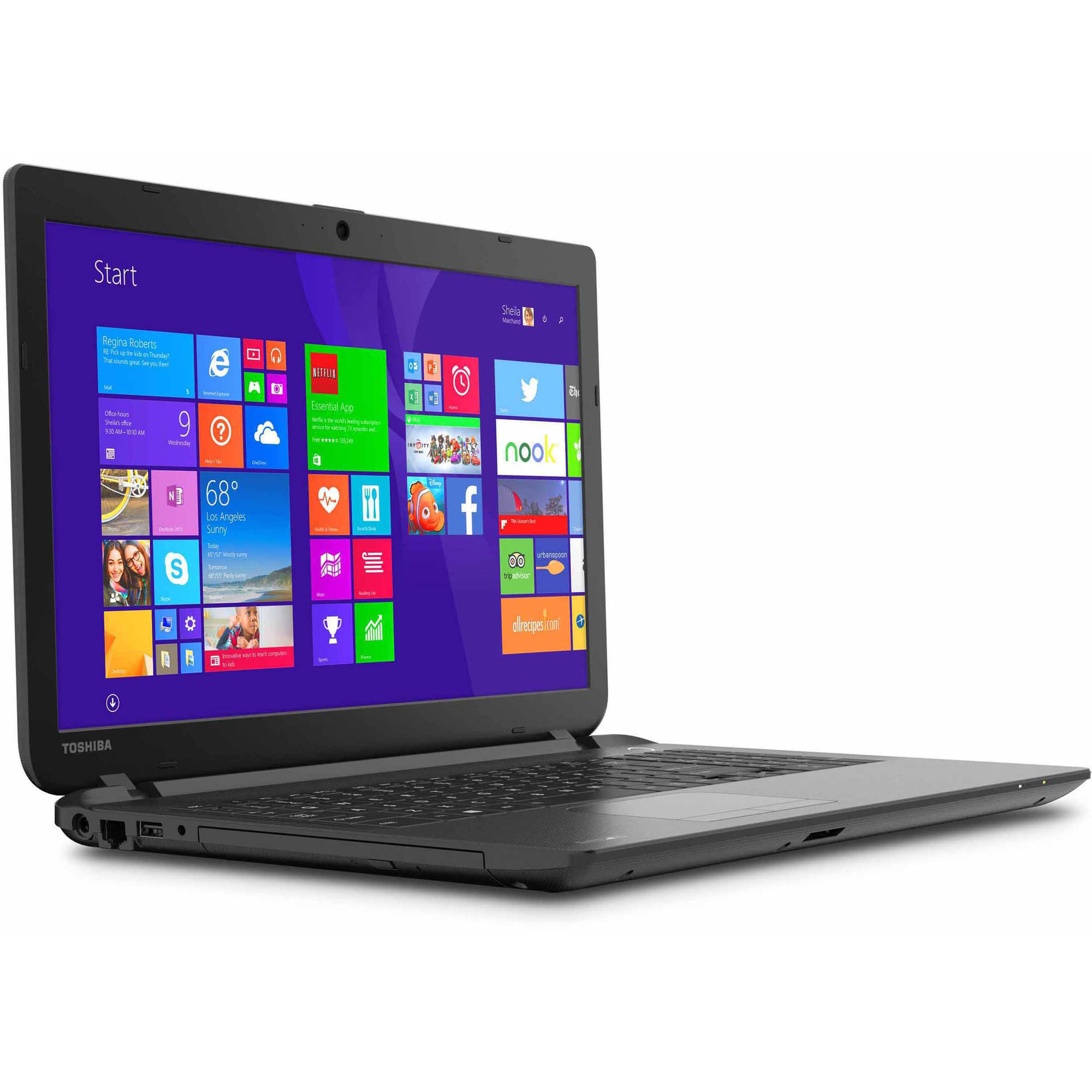 Toshiba Black 15.6 Satellite C55-B5240 Laptop PC with Intel Celeron N2840 Processor, DVD Drive, 4GB Memory, 500GB Hard Drive and