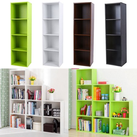 EECOO 3 4 Shelf Wood Bookcase Storage Home Office Bedroom Furniture Bookshelf