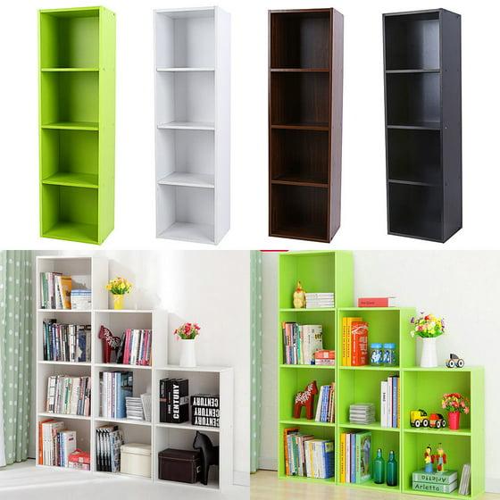 EECOO 3/4 Shelf Wood Bookcase Storage Home Office Bedroom Furniture ...