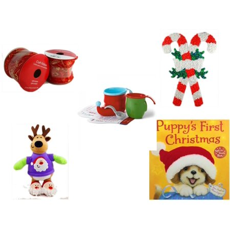 Kit 2 Ribbons (Christmas Fun Gift Bundle [5 Piece] - 2 Rolls Red and Gold Craft Ribbon 2.5 in. x 9 ft. - Vintage 1960's Kage Co. Melted Popcorn Candy Cane - Hallmark)