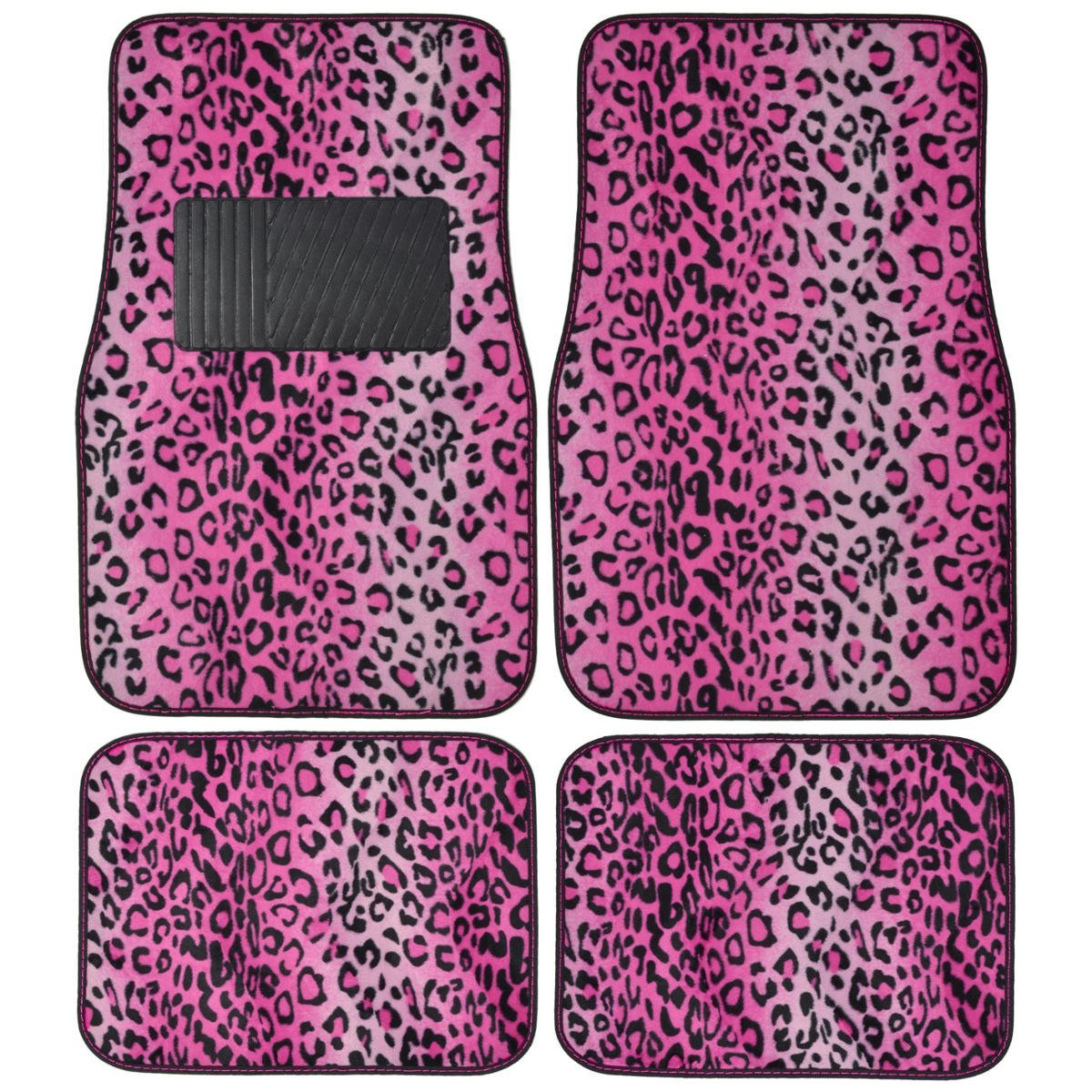 Pink Leopard Animal Print Front & Rear Carpet Car Truck SUV Floor Mats, Universal size fits most vehicles By BDK