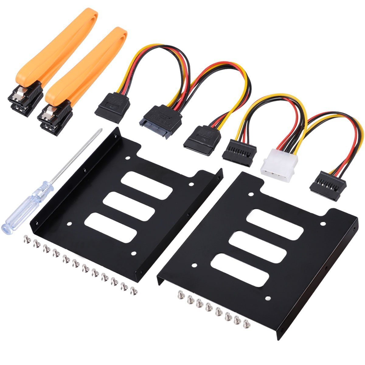 UCEC 2.5 Inch SSD to 3.5 Inch Internal Hard Disk Drive Mounting Kit (SATA Data Cables and Power Cables Included) (2 x Bracket Conversion Frame)
