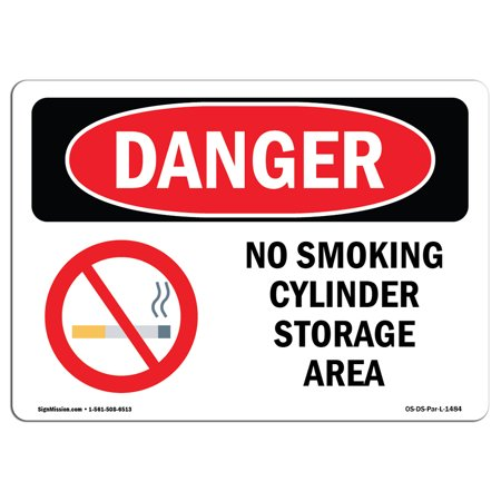 OSHA Danger Sign - No Smoking Cylinder Storage Area 5