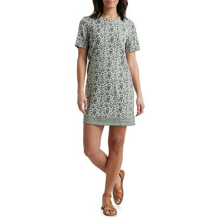 Printed Cotton Blend Shift Dress Jointed Cotton Women Dresses