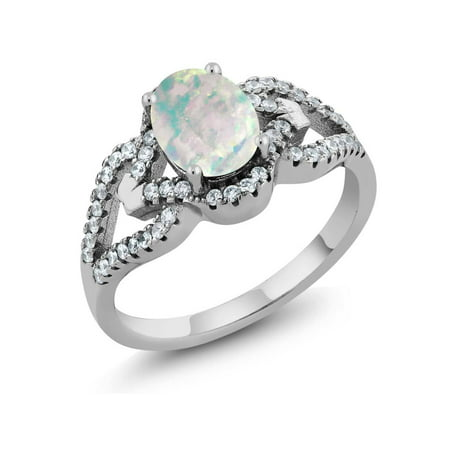 1.07 Ct Oval Cabochon White Simulated Opal 925 Sterling Silver Ring