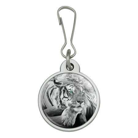 Black and White Tiger with Blue Green Eyes Jacket Handbag Purse Luggage Backpack Zipper Pull Charm