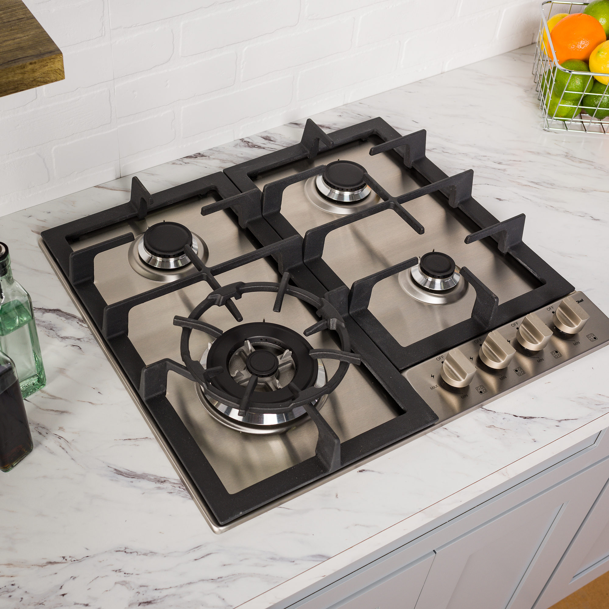 Stainless Steel Magic Chef 24 Built MCSCTG24S 24 Gas Cooktop with 4 Burners