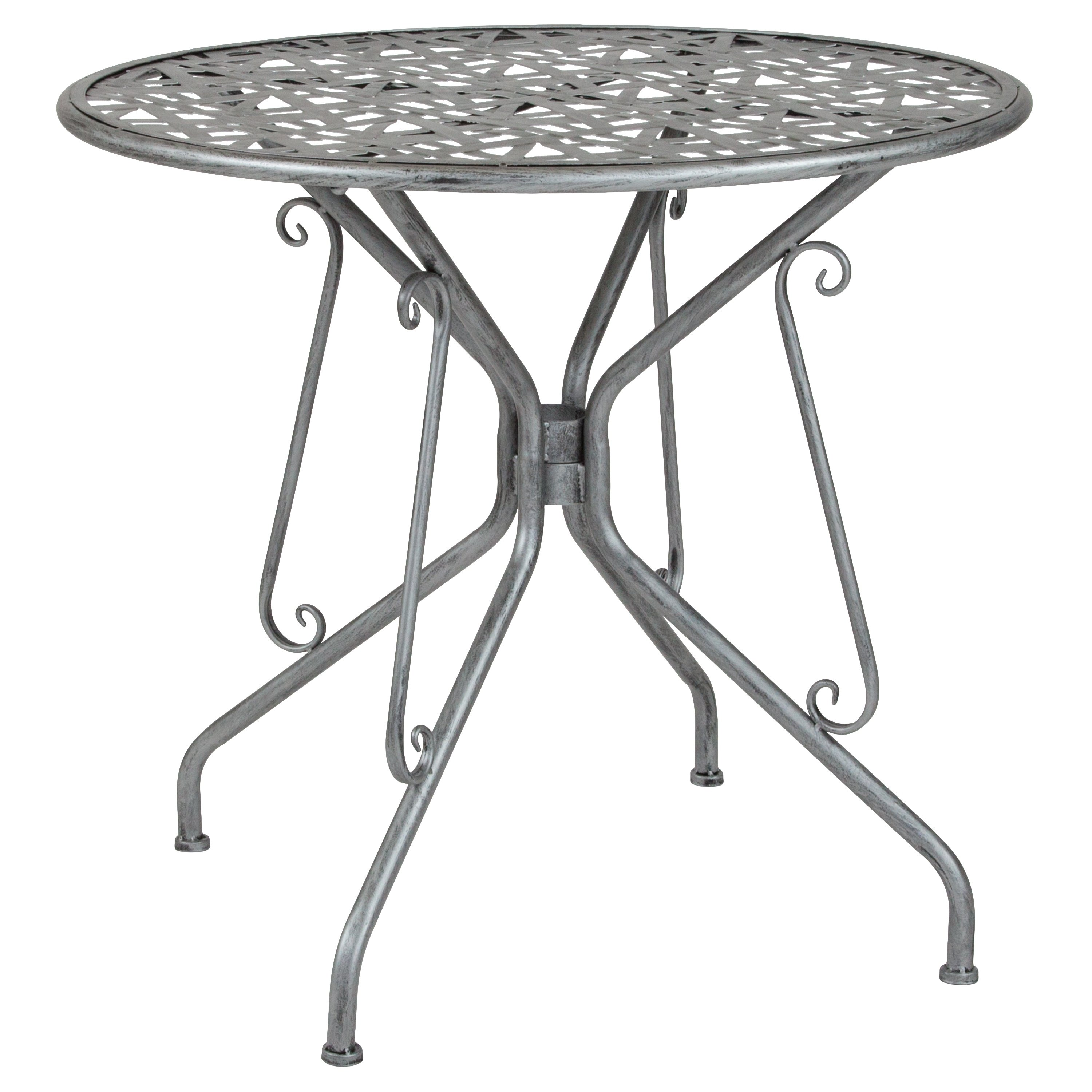"""Lancaster Home Agostina Series 31.5"""" Round Indoor-Outdoor Steel Patio Table"""