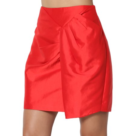 TheMogan Junior's Draped Wrap Taffeta Day To Night High Waisted Mini Skirt (Flocked Taffeta Skirt)