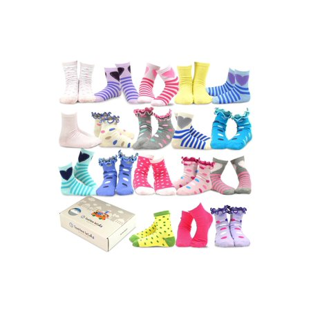 TeeHee Kids Girls Fashion Variety Cotton Crew 18 Pair Pack Gift Box](Kids Back To School Clothes)