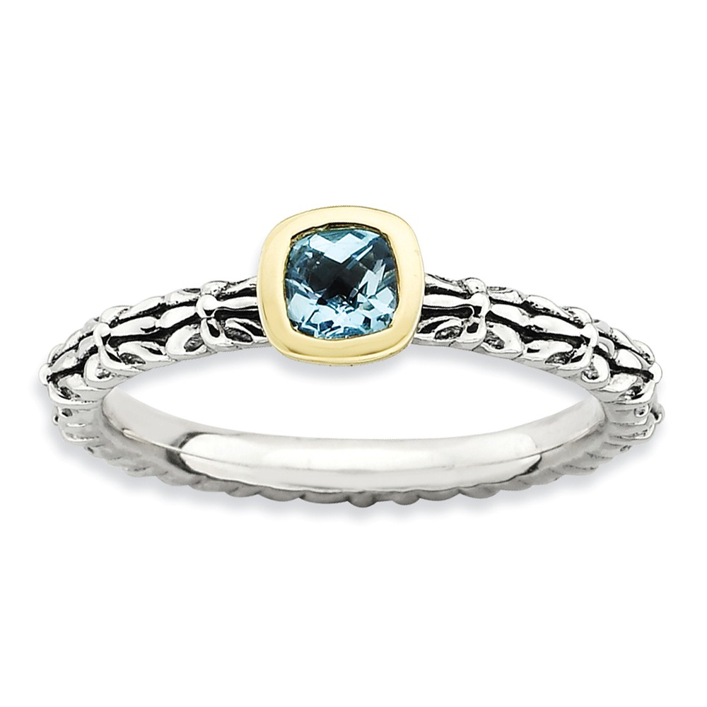 ICE CARATS ICE CARATS 925 Sterling Silver 14kt Checker Cut Blue Topaz Band Ring Size 8.00 Stackable Gemstone Birthstone... by IceCarats Designer Jewelry Gift USA