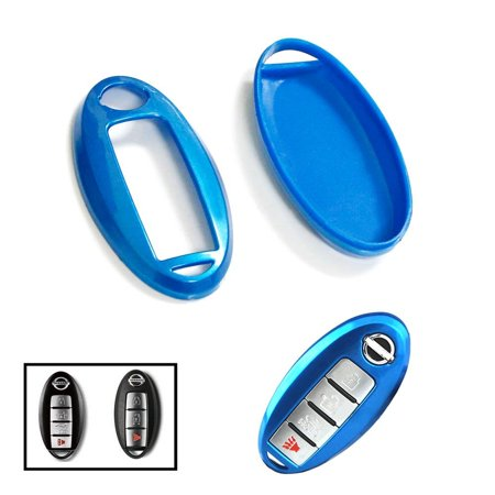 iJDMTOY (1) Exact Fit Gloss Metallic Sky Blue Smart Key Fob Shell For Nissan 370Z Altima Cube GT-R Maxima Murano Pathfinder Rogue, etc