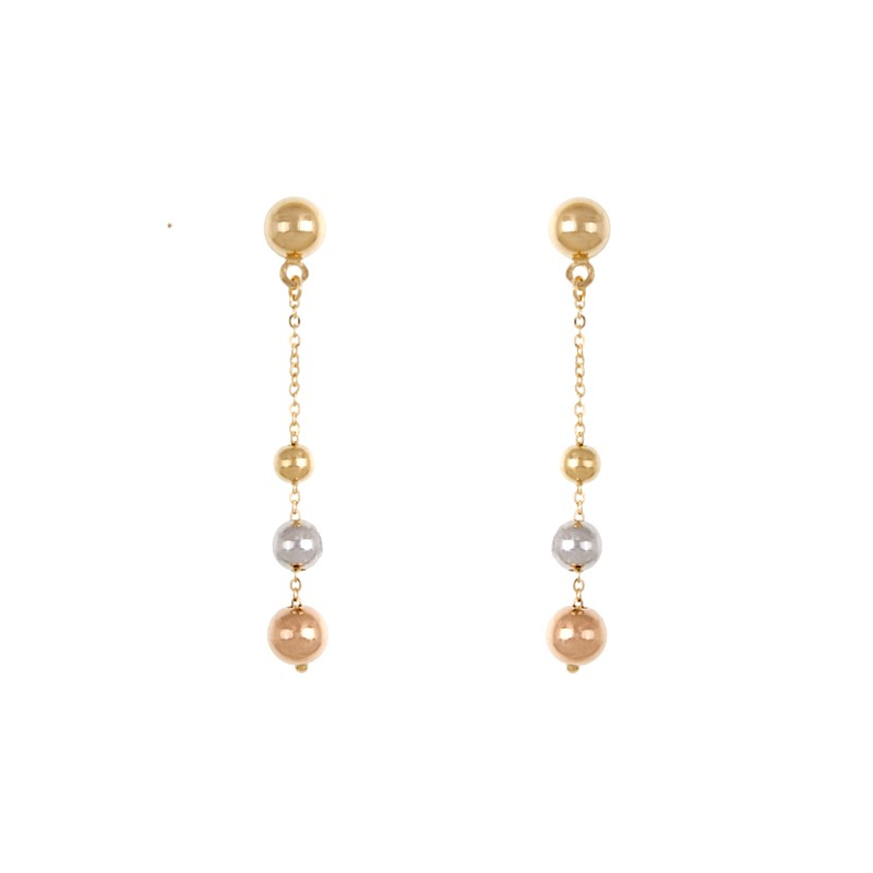 18k Yellow Gold White Pink Earrings 3.2 Grams by