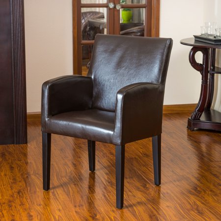 Noble House Westfield Brown Bonded Leather Wood Side (Brown Leather Side Chair)