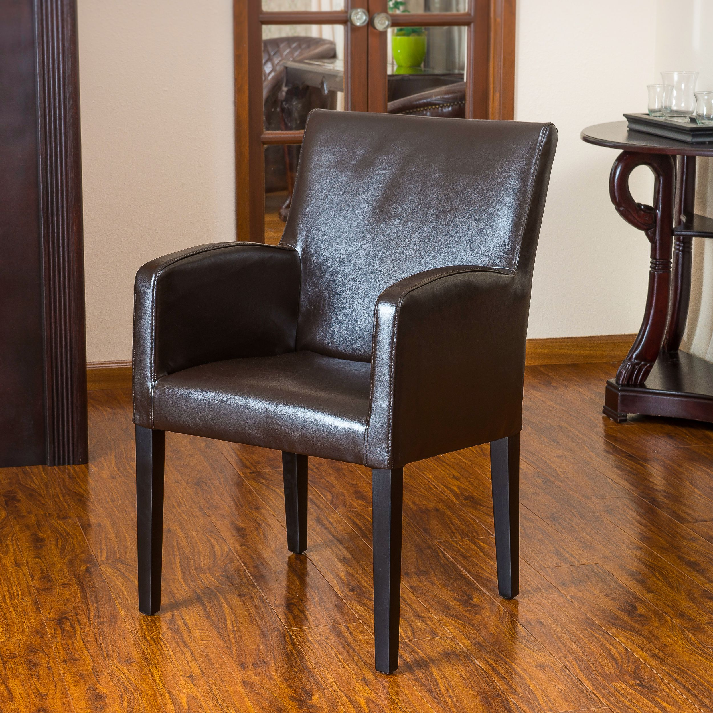 Noble House Westfield Brown Bonded Leather Wood Side Chair