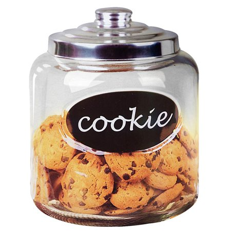 - Home Basics Glass Cookie Jar with Metal Lid